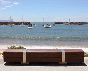outdoor timber hardwood beach bench custom design and manufactured by ENCAT