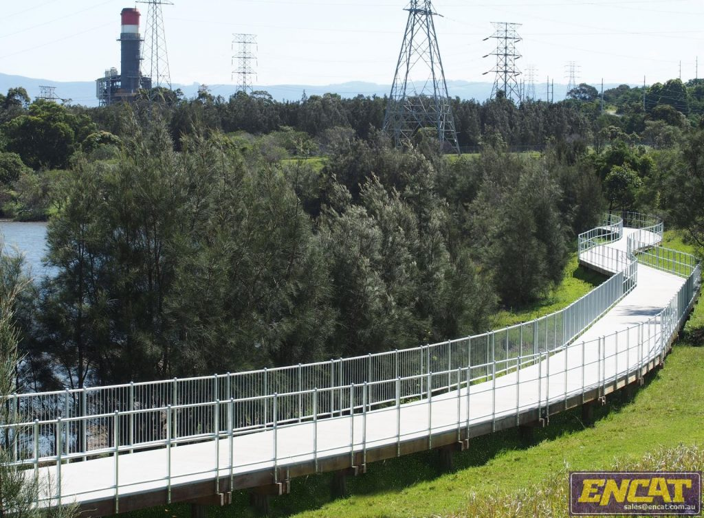Tallawarra pedestrian and bicycle boardwalk path designed and constructed by ENCAT