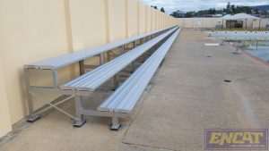 outdoor aluminium bench seating designed and manufactured by ENCAT in Australia