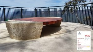outdoor seating designed and installed in the blue mountains national park by ENCAT