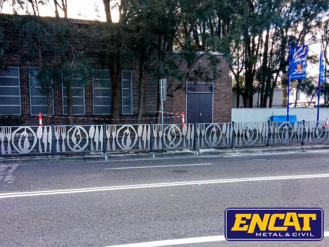 ENCAT-Australian-Manufacturer-of-Custom-Pedestrian-Fencing-for-Mascot-Council-with-decorative-panels-for-busy-streets