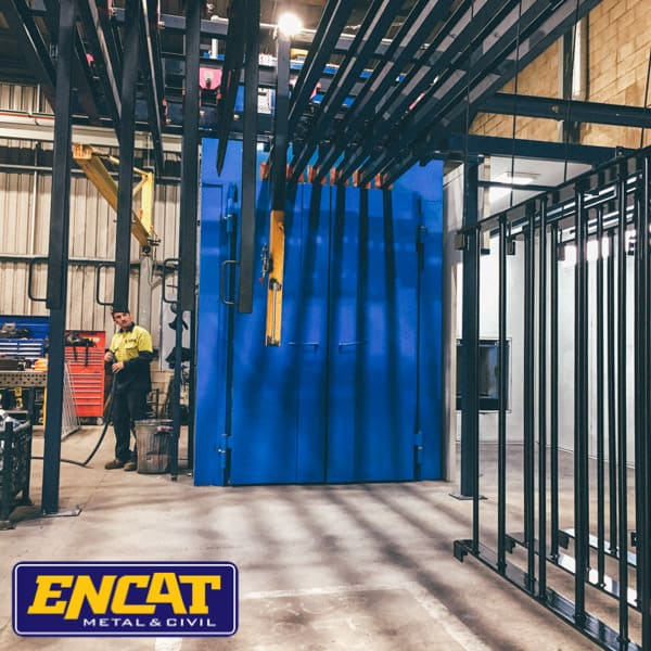 ENCAT Australian Manufacturer of Pedestrian fencing with factory in NSW in house powder coating