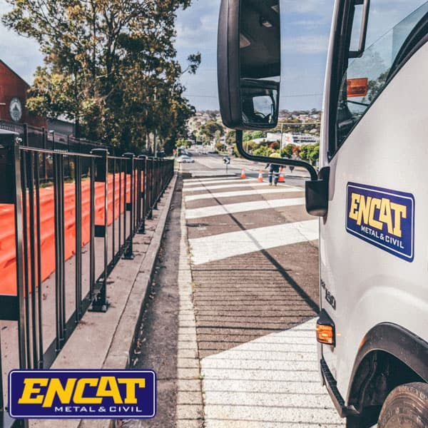 ENCAT-pedestrian-fencing-being-delivered-locally-in-Australia-ready-for-installation-on-site