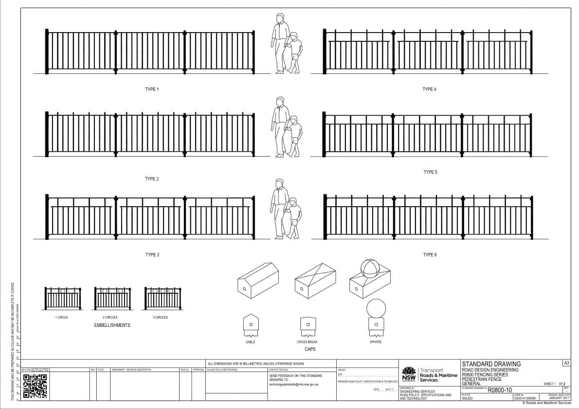 RMS R0800 Fencing Series Pedestrian Fencing Types Drawing