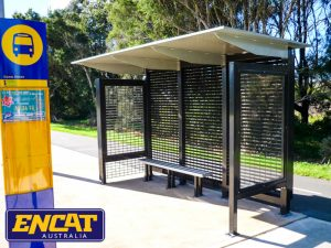 Bus shelter aluminium with glass frame for advertising gutter free design custom made or manufactured by ENCAT in Australia for verge