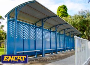 Modular outdoor bus shelter aluminium custom made in blue or black with pedestrian fencing manufactured by ENCAT in Australia