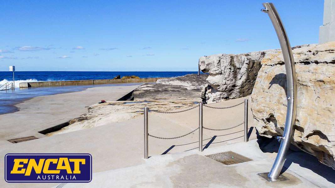 Pipeline-Pete-stainless-steel-outdoor-beach-shower-made-by-ENCAT-Pipeline-Beach-Marine-Grade-Stainless-Steel-outdoor-shower-for-sale-from-ENCAT