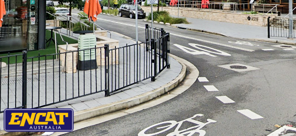 ENCAT RMS Type 2 Pedestrian Fence installed on a curved verge in Rozelle NSW shopping area and roundabout
