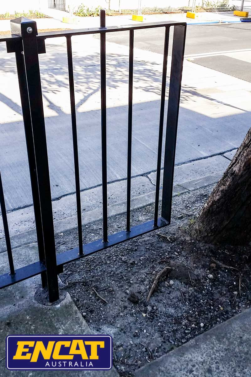 ENCAT RMS Type 2 Pedestrian Fence installed on a verge in Rozelle NSW next to a tree