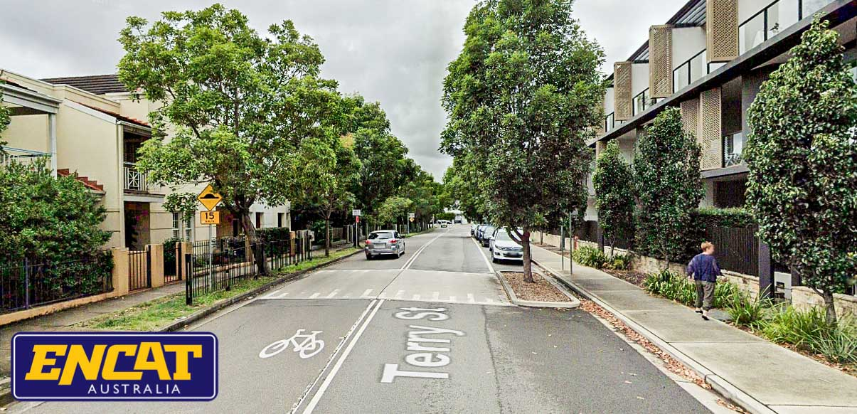 ENCAT RMS Type 2 Pedestrian Fence installed on a verge in Rozelle NSW residential area
