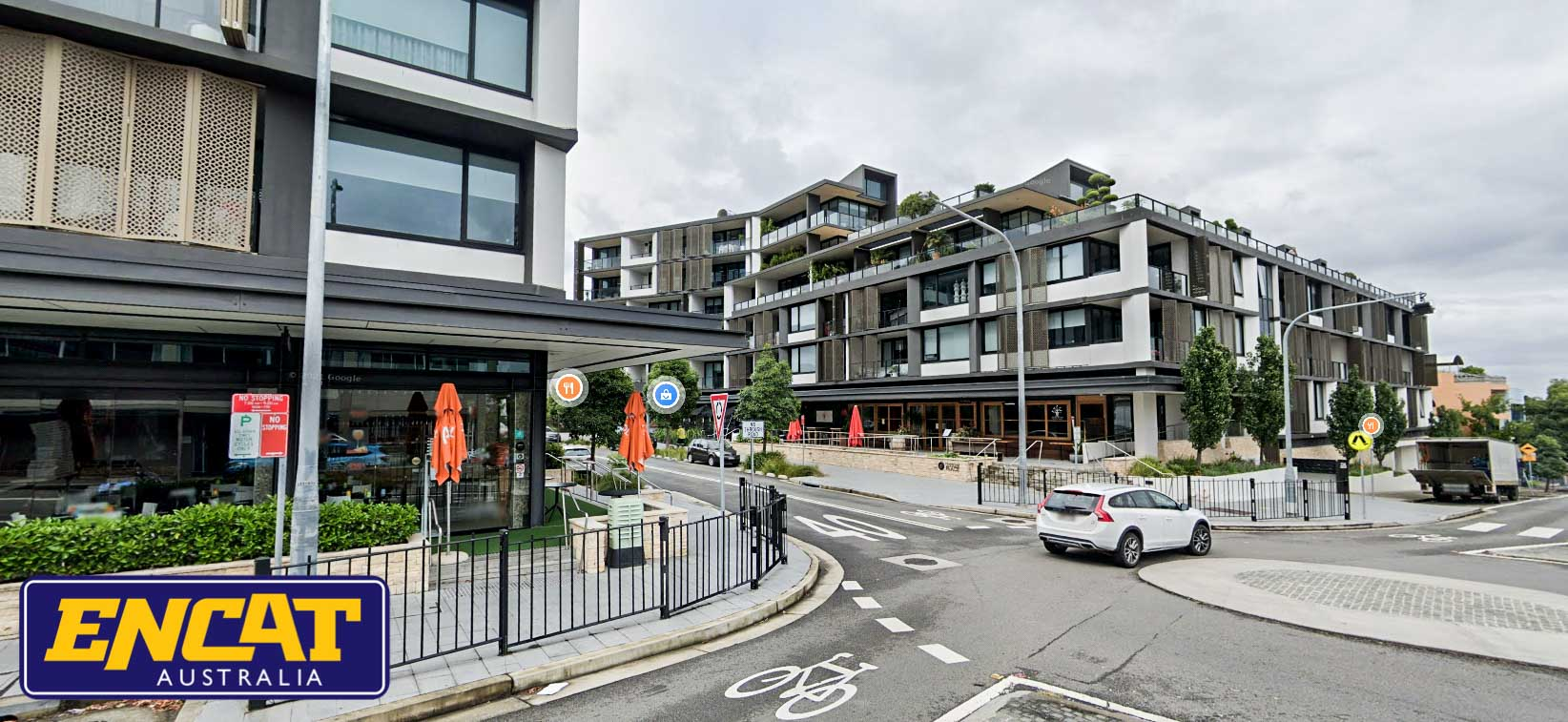 ENCAT RMS Type 2 Pedestrian Fence installed on a verge in Rozelle NSW shopping area and roundabout