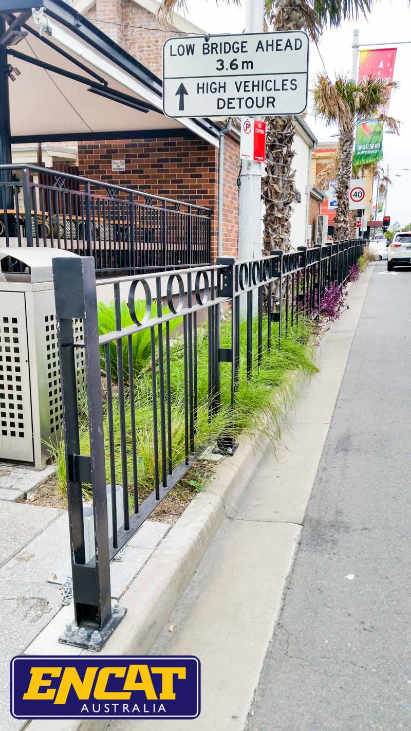 ENCAT RMS Type 5 Pedestrian Fencing Manufacturer in Australia for a verge near retail shops with embellishments