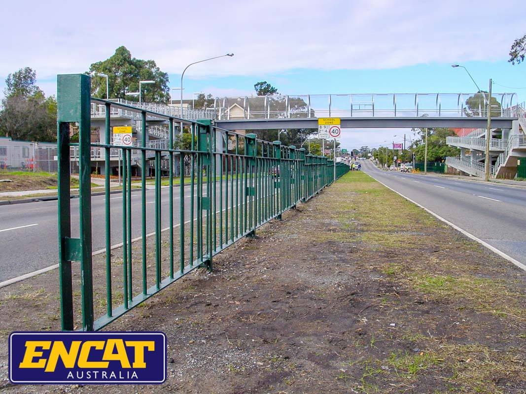ENCAT RMS Type 5 Pedestrian Fencing Manufacturer in Australia for median strips on main roads near walkway bridge or schools