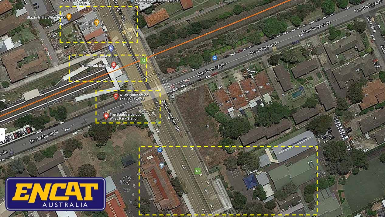 King Georges Road Type 5 Pedestrian Fencing installed on a median between two schools top down map view