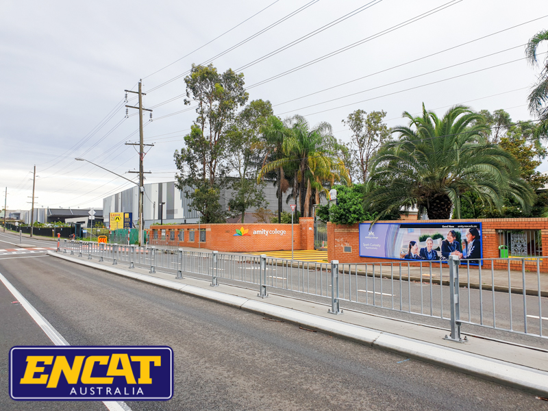 Type 1 RMS Pedestrian Fencing installed in NSW by ENCAT Australia fencing manufacturer