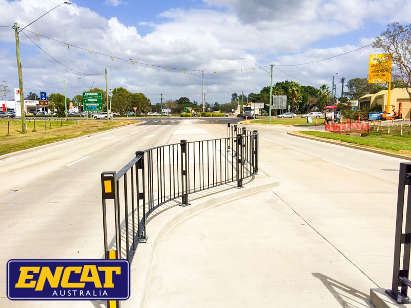 ENCAT Curved Pedestrian Fencing for a median main road crossing in Grafton New South Wales