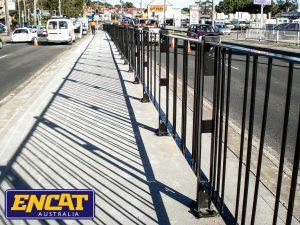 ENCAT Pedestrian Fencing for median strips on main roads in black