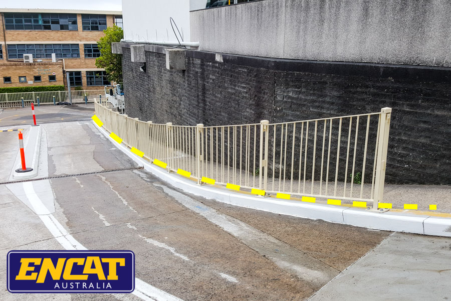ENCAT Pedestrian Fencing for verges on gradients or curves or driveways for shopping centres