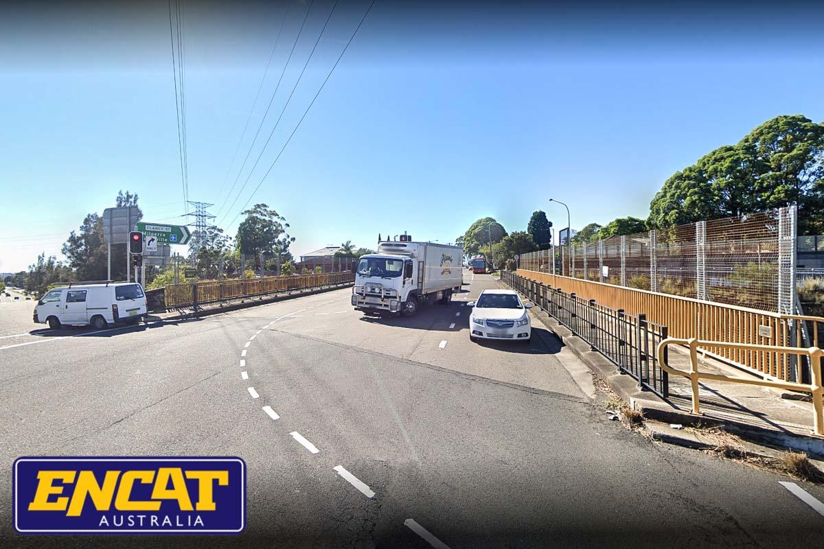 ENCAT Pedestrian Fencing installed on freeway bridge Clancy Street Padstow in New South Wales near an intersection