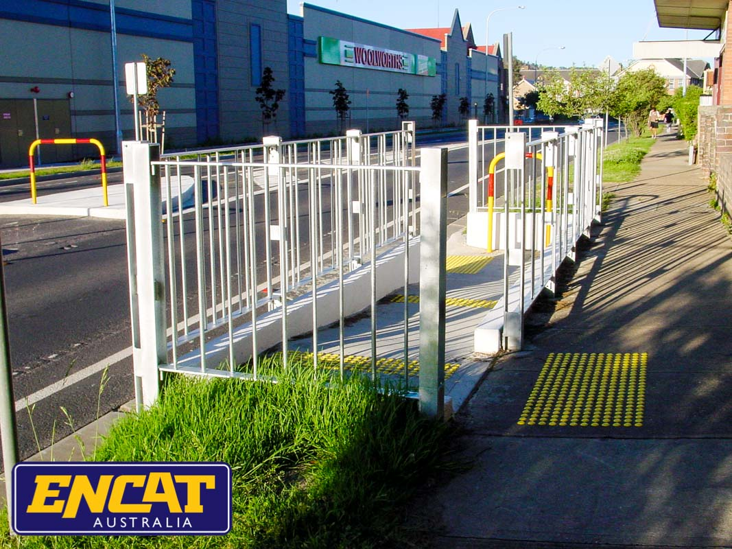 ENCAT Pedestrian Fencing with disabled access ramp for footpath verge on a main road