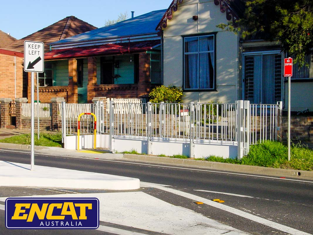ENCAT Pedestrian Fencing with disabled access ramp for footpath verge