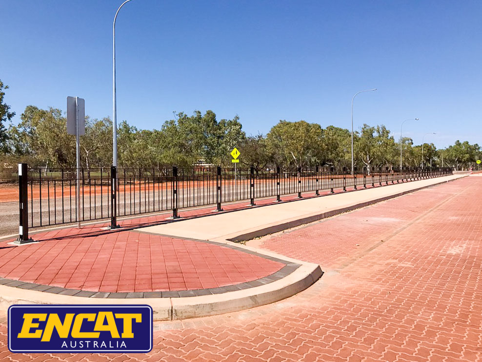 ENCAT Type 5 Pedestrian Fencing installed on a verge in Broome near a local school in Western Australia