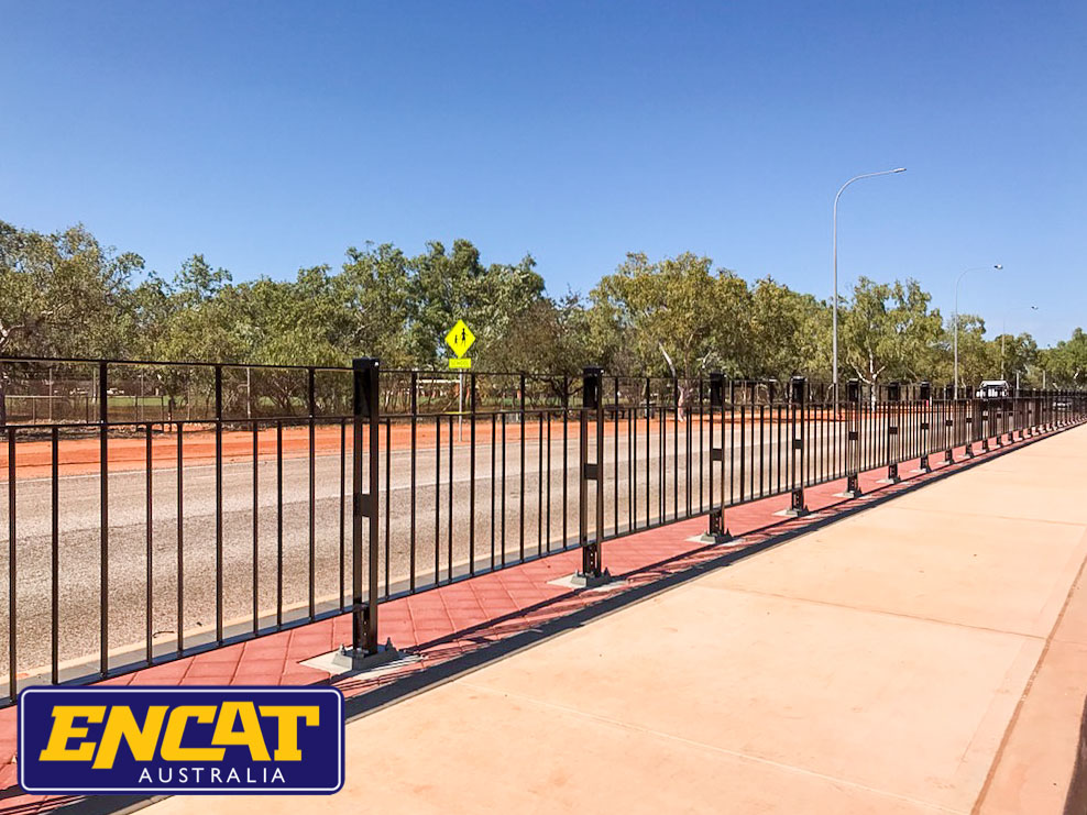 ENCAT Type 5 Pedestrian Fencing installed on a verge in Broome near a local school on a main road