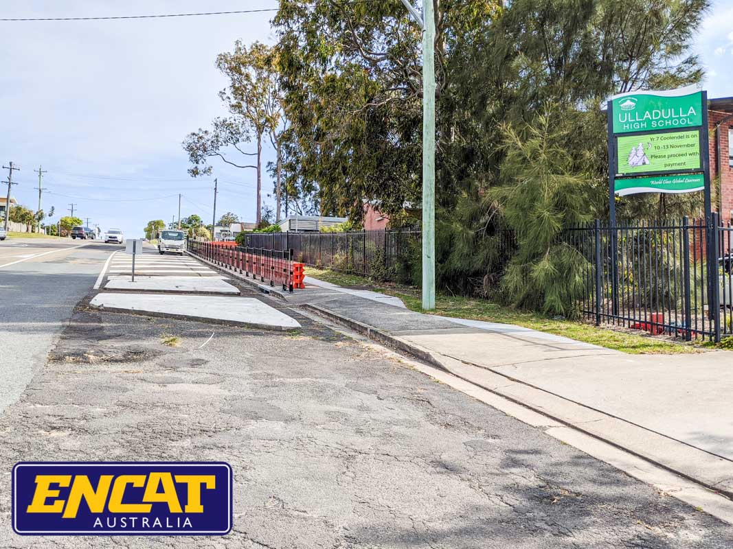 Type 1 RMS Pedestrian Fence supplied by ENCAT Australia to be installed outside a school intersection main road near a driveway