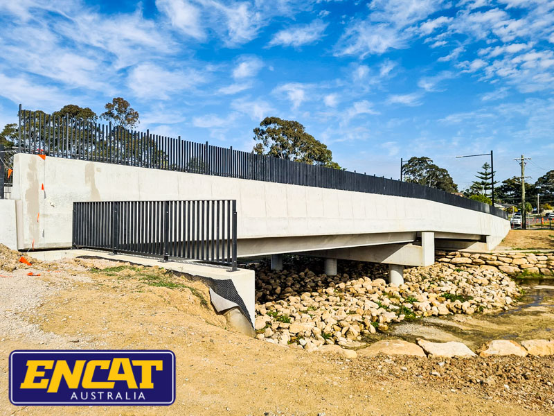 ENCAT Pedestrian Fence with Balustrade Installed on a Bridge in Blacktown with custom made posts supplied to civil works contractor
