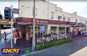 ENCAT Type 1 Pedestrian Fence Installed in Mascot in Sydney with decorative panels outside a coffee shop